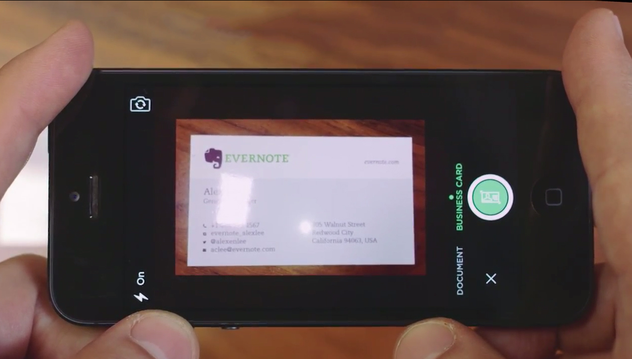 Evernote for iOS Update: Business Card Scanning and More