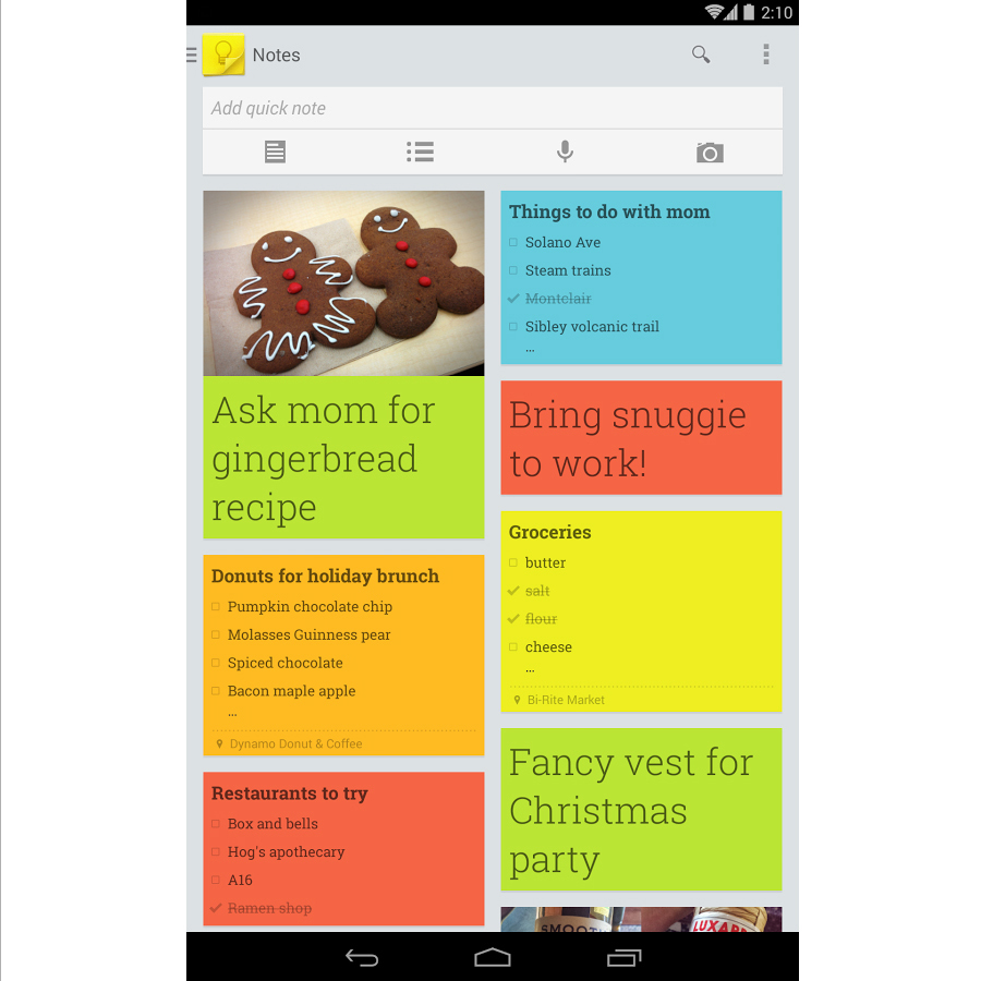 To-do list: Google keep (Free)